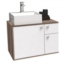 Gabinete de Banheiro Caeté 60 com Cuba Cubo Cozimax Branco/Tamarindo