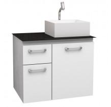 Gabinete Para Banheiro Aço Figo 60 com Cuba Prisma Cozimax Branco