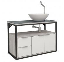 Gabinete Para Banheiro Apoema 80 com Cuba Cuia Cozimax Branco/Calcare