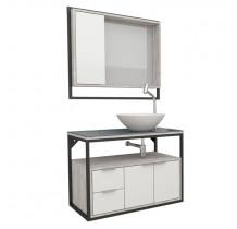 Conjunto Para Banheiro Apoema 80 com Cuba Cuia Cozimax Branco/Calcare