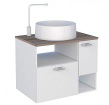 Gabinete Para Banheiro Iara 60 com Cuba Domo Cozimax Branco/Tamarindo