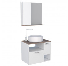 Conjunto de Banheiro Iara 60 com Cuba Domo Cozimax Branco/Tamarindo