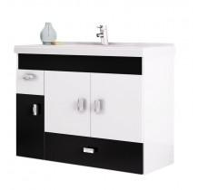 Gabinete Para Banheiro Madeira Orquídea 80 Cozimax Branco/Preto