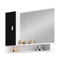 Espelho Para Banheiro Madeira Orquídea 80 Cozimax Branco/Preto