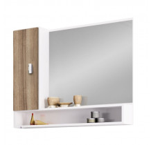 Espelho Para Banheiro Madeira Orquídea 80 Cozimax Branco/Tamarindo