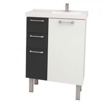 Gabinete Para Banheiro Aço Cereja 60 Cozimax Branco/Preto