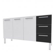 Gabinete Para Pia Cozinha Aço Vênus Flat 1.5 Cozimax Branco/Preto