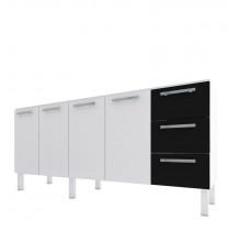Gabinete Para Pia Cozinha Aço Vênus Flat 1.8 Cozimax Branco/Preto