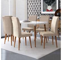 Mesa de Jantar 170 Com 6 Cadeiras Jade RV Móveis Off White/Bege