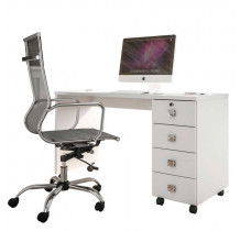 Escrivaninha Mesa Office Dubai Lukaliam Branco