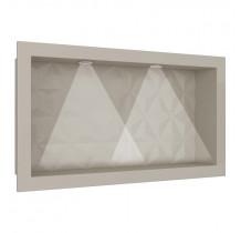 Nicho Para Banheiro Com LED 60x30 Mármore Sintético Cozimax Bege Textura