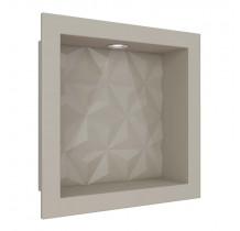 Nicho Para Banheiro 30x30 Com LED Mármore Sintético Cozimax Bege Textura