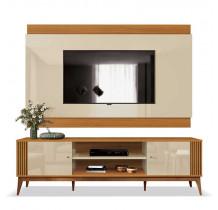 Rack Com Painel Legacy 2.0 Para TV 75 Polegadas EDN Off White/Cedro