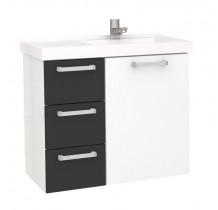Gabinete Para Banheiro Aço Ameixa 60 Cozimax Branco/Preto